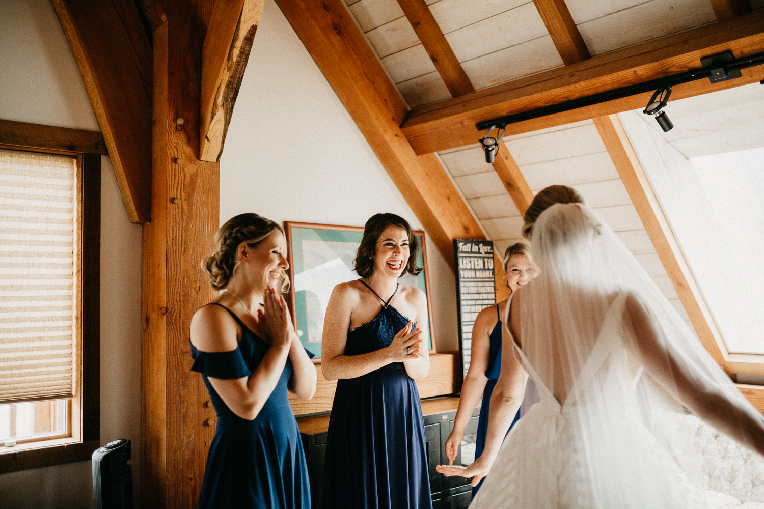 bride and her bridesmaids at Bird's Eye Cove wedding, Vancouver Island