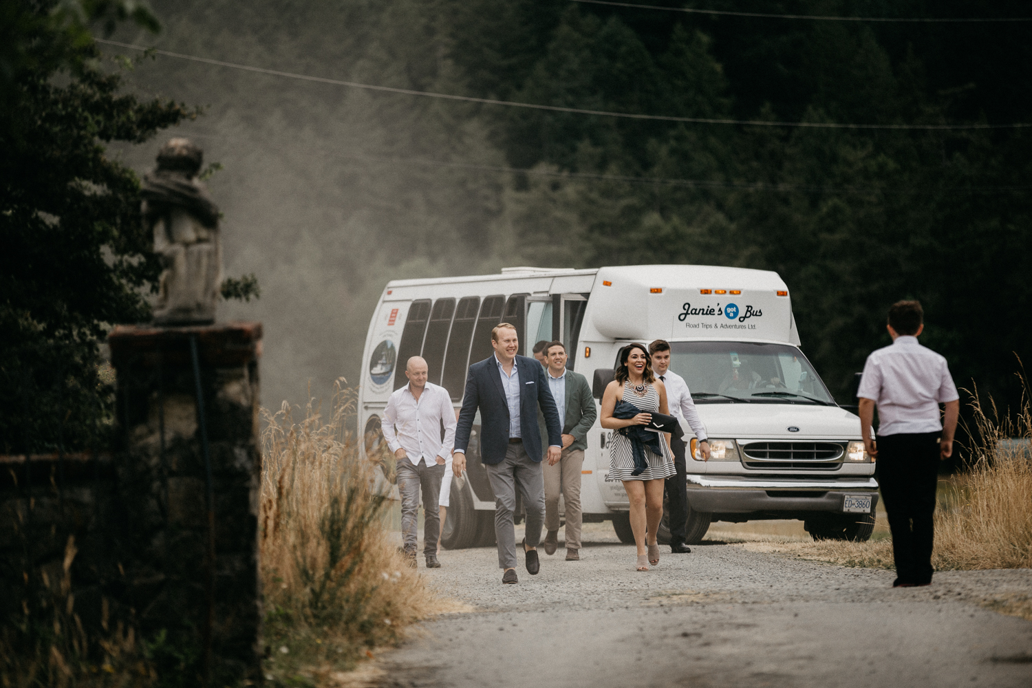 guests arriving at ceremony at Bird's Eye Cove wedding, Vancouver Island