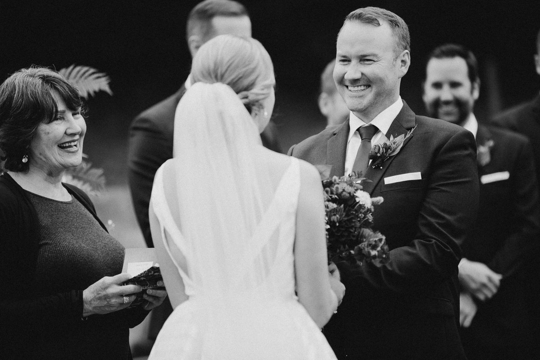 groom smiling at Bird's Eye Cove wedding, Vancouver Island