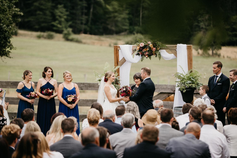 wedding ceremony at at Bird's Eye Cove wedding, Vancouver Island