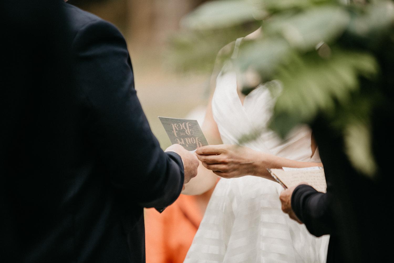 vows read at Bird's Eye Cove wedding, Vancouver Island
