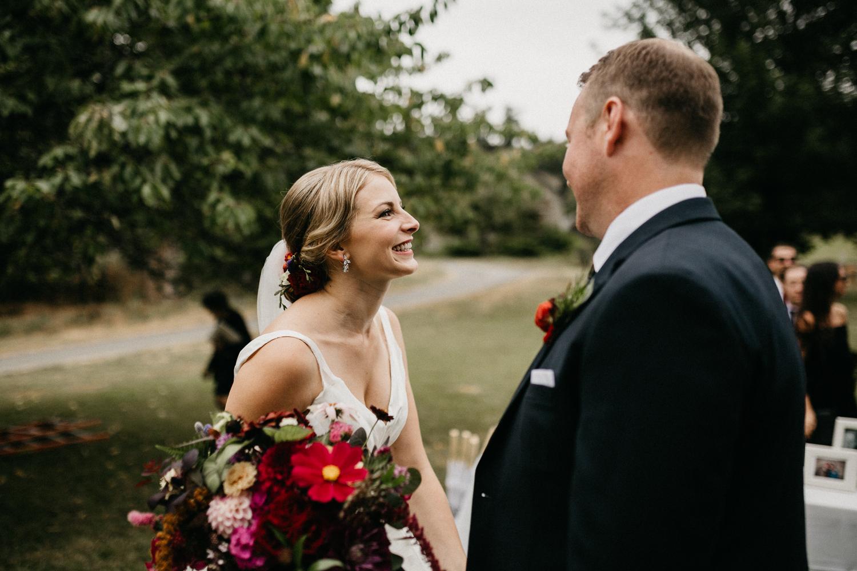 couple celebrates at Bird's Eye Cove wedding, Vancouver Island