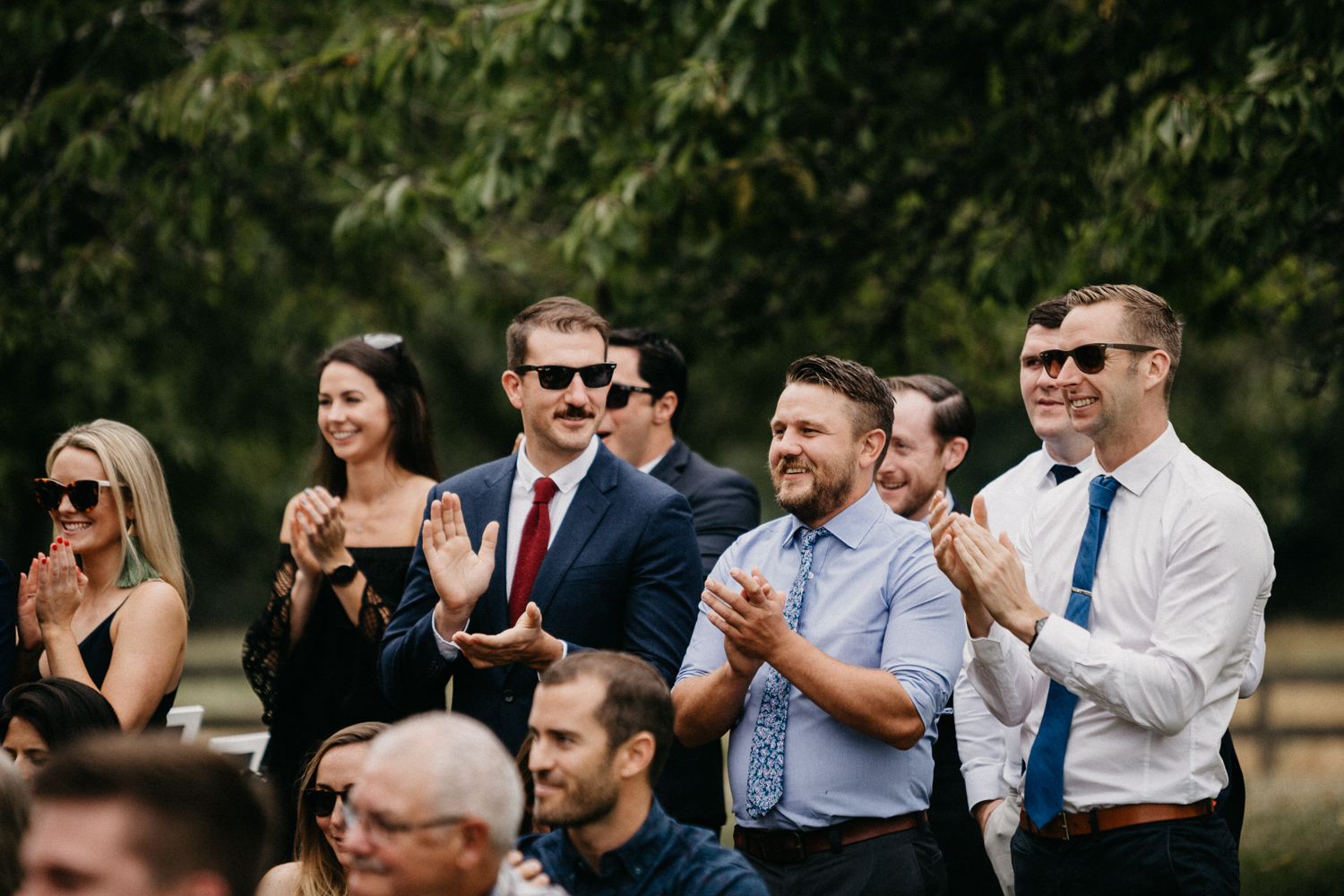 guests celebrate at Bird's Eye Cove wedding, Vancouver Island