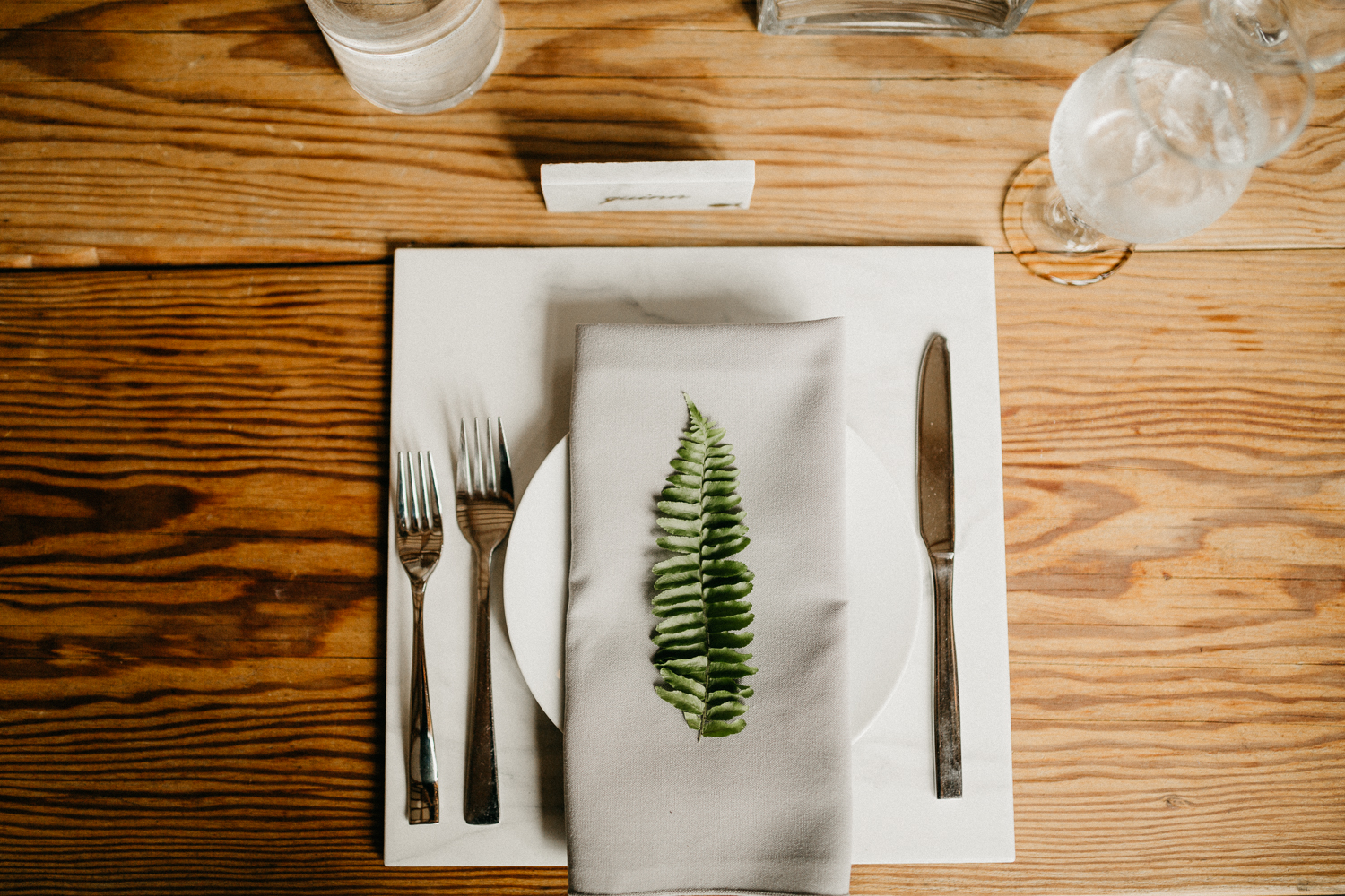 place setting at Bird's Eye Cove wedding, Vancouver Island
