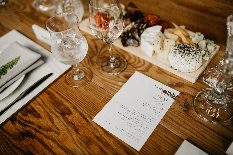 menu at Bird's Eye Cove wedding, Vancouver Island