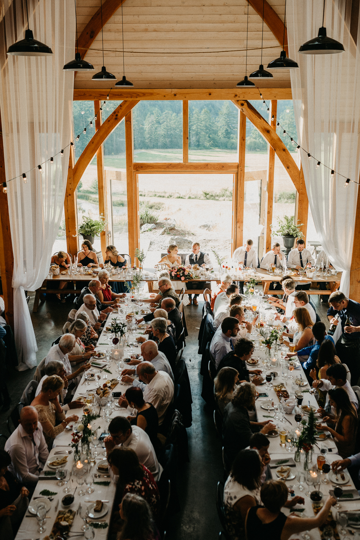 reception dinner at Bird's Eye Cove wedding, Vancouver Island