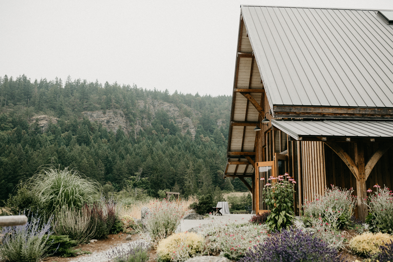 reception site at Bird's Eye Cove wedding, Vancouver Island