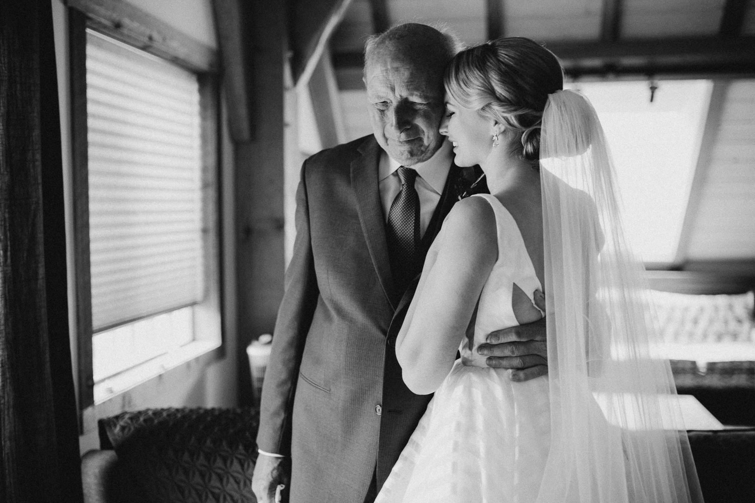 Bride and her father at Bird's Eye Cove wedding, Vancouver Island