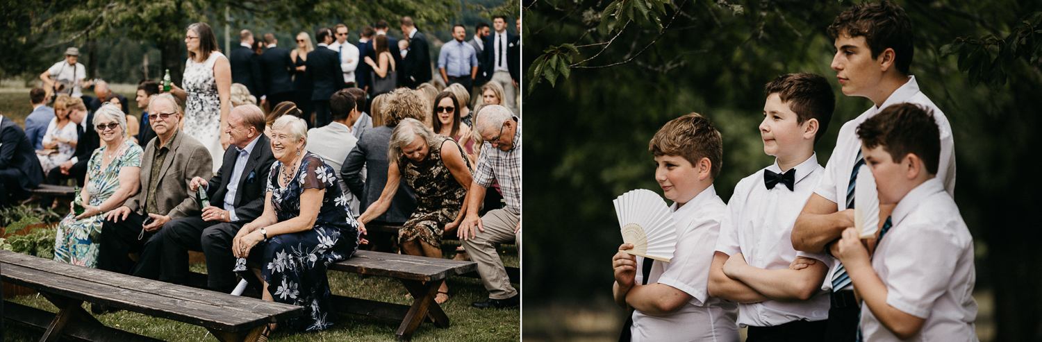 guests gather at ceremony at Bird's Eye Cove wedding, Vancouver Island