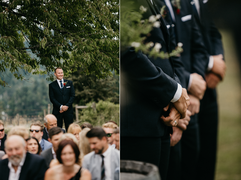 groom awaiting ceremony at Bird's Eye Cove wedding, Vancouver Island