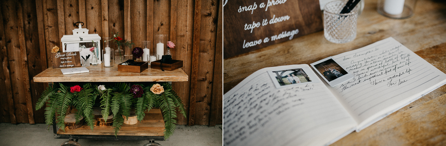 guest book table at Bird's Eye Cove wedding, Vancouver Island
