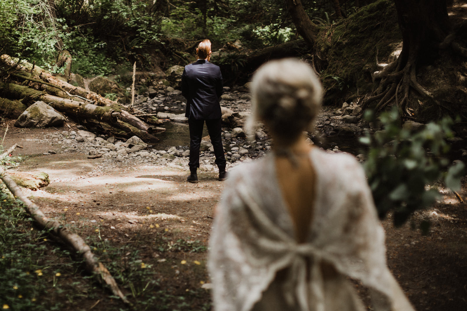 groom waits for bride at first look forest wedding vancouver island wedding photographer