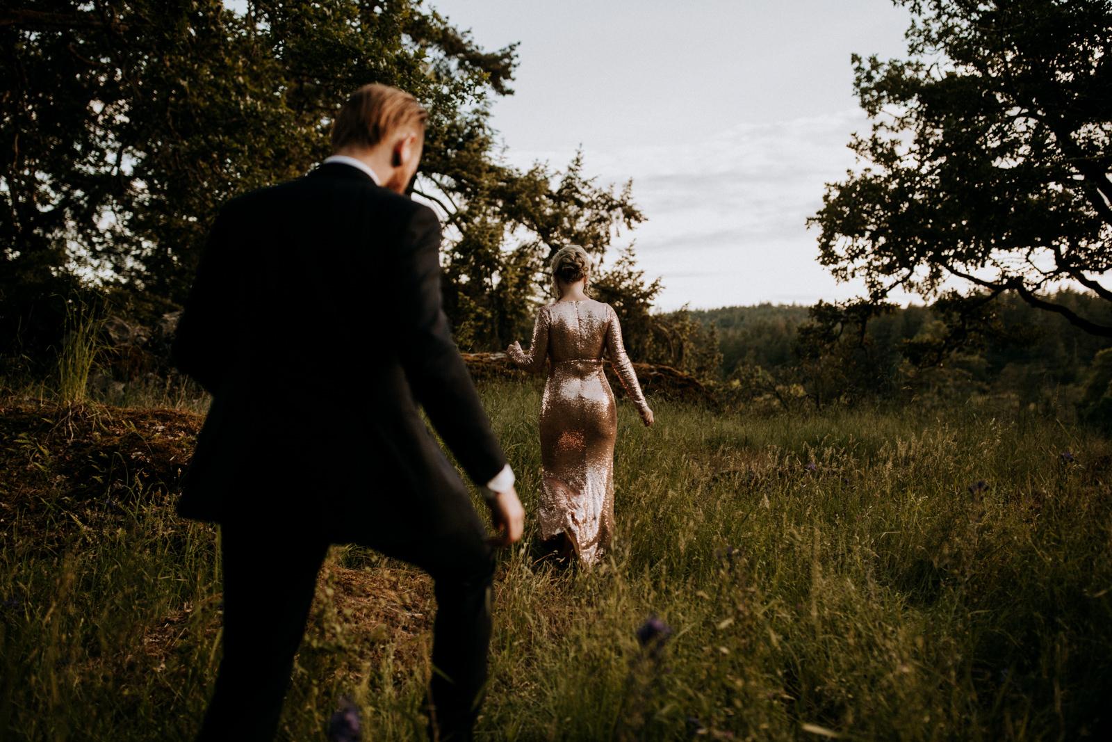 bride and groom walk through forest, victoria wedding photographer