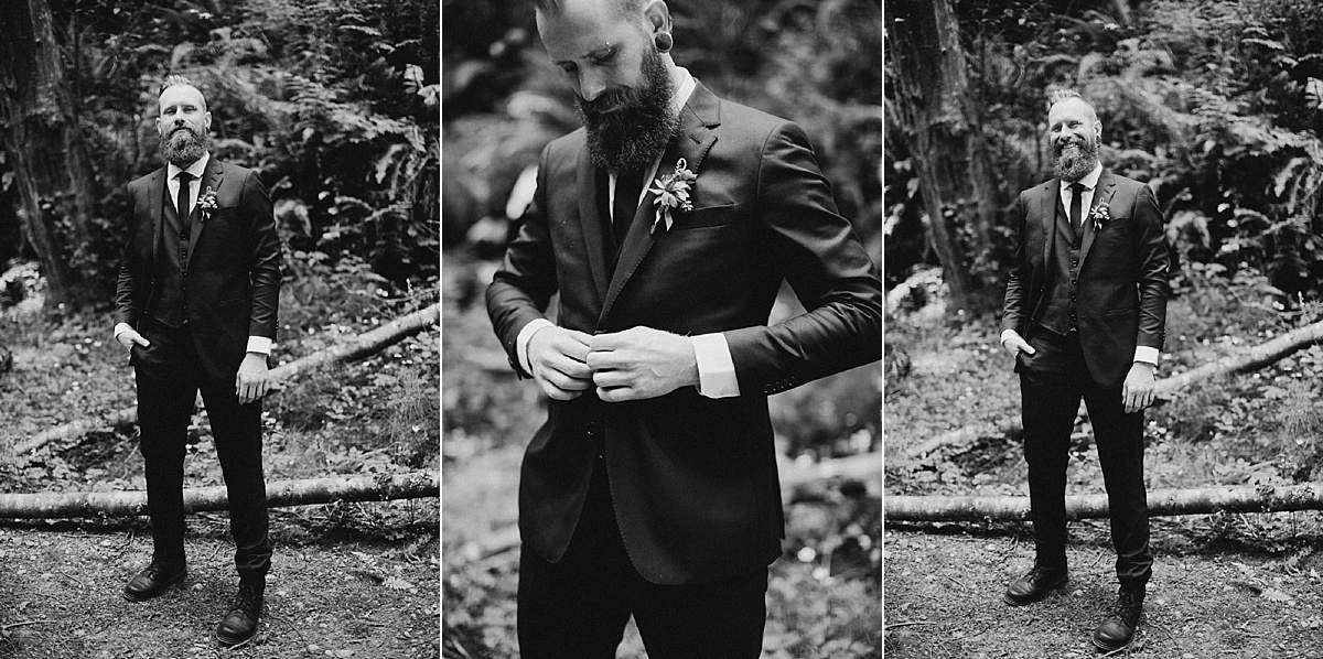 groom in suit in black and white victoria wedding photographer