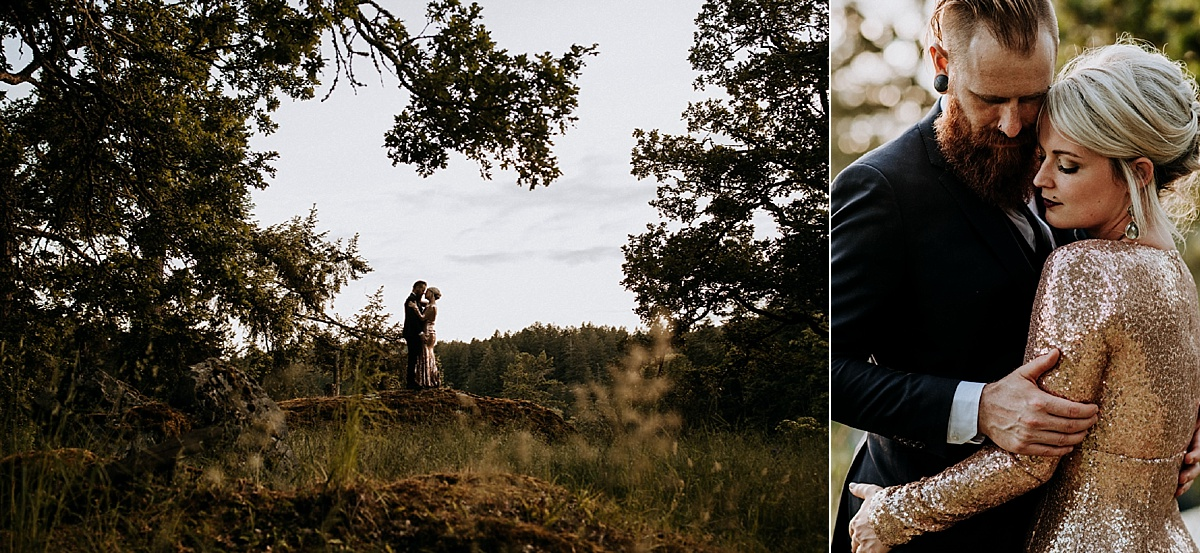 bride and groom at sunset in forest, victoria wedding photographer