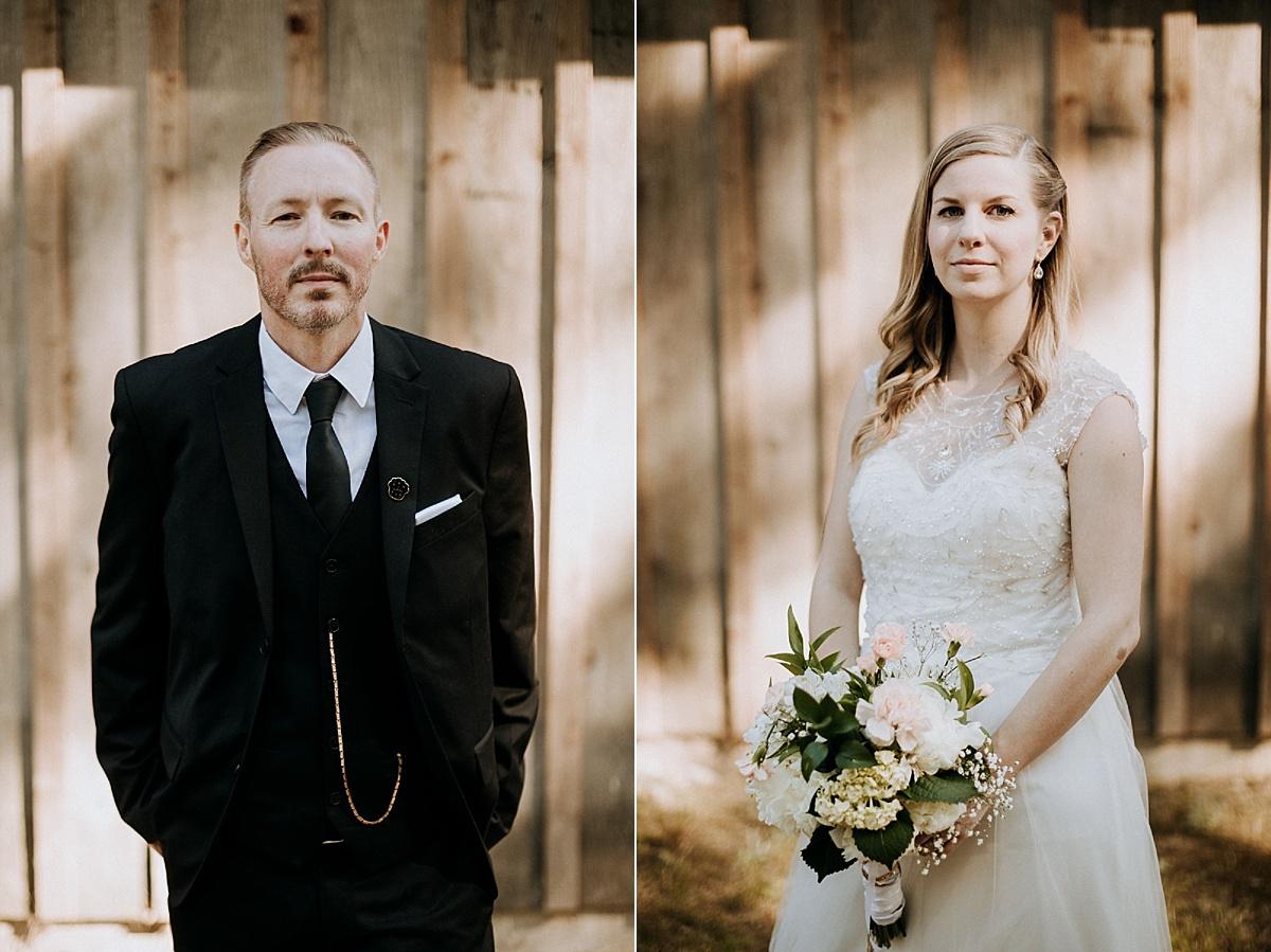 bride and groom portraits at farm wedding vancouver island wedding photographer