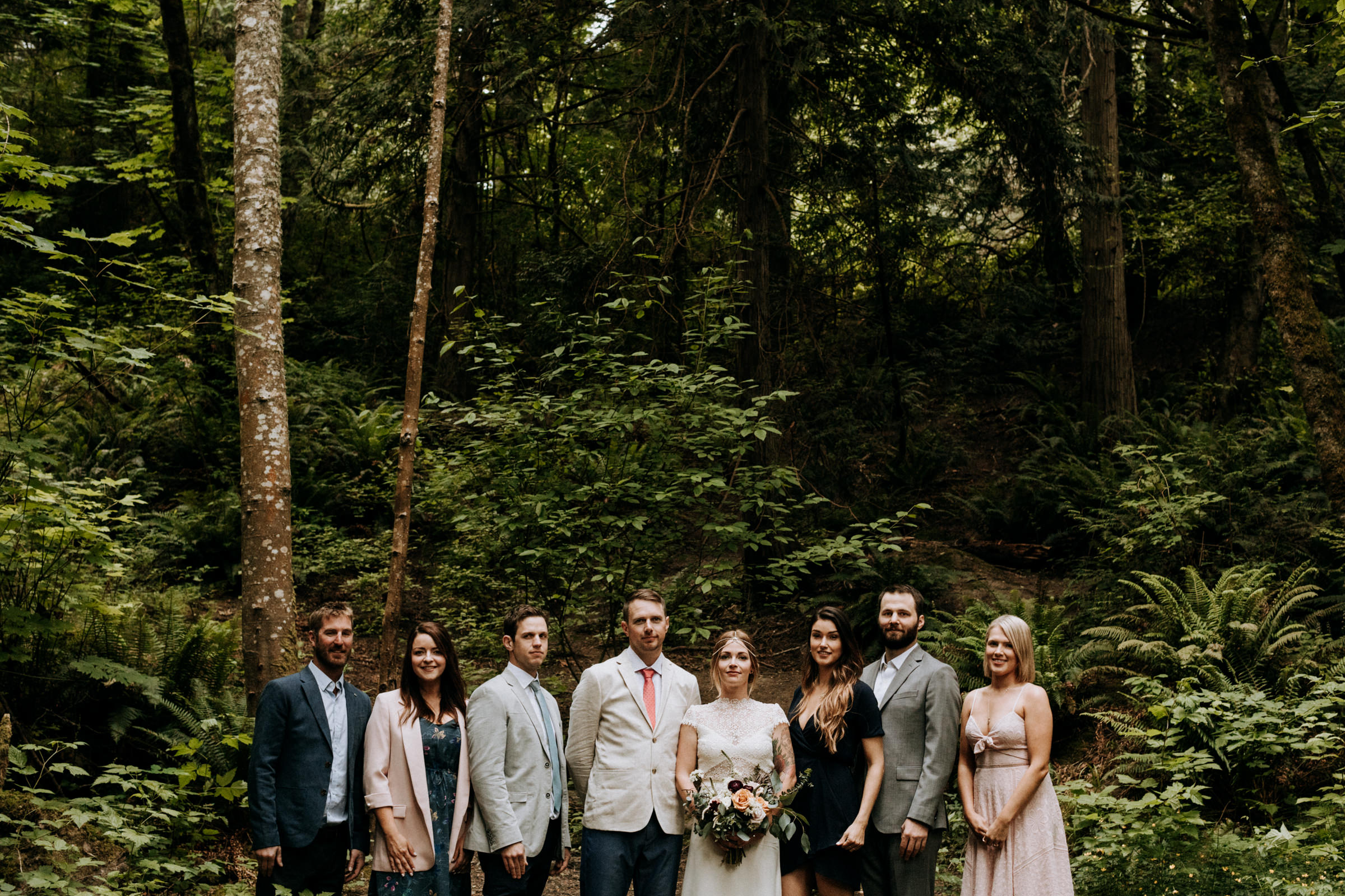bridal party in forest Vancouver Island Elopement Photographer