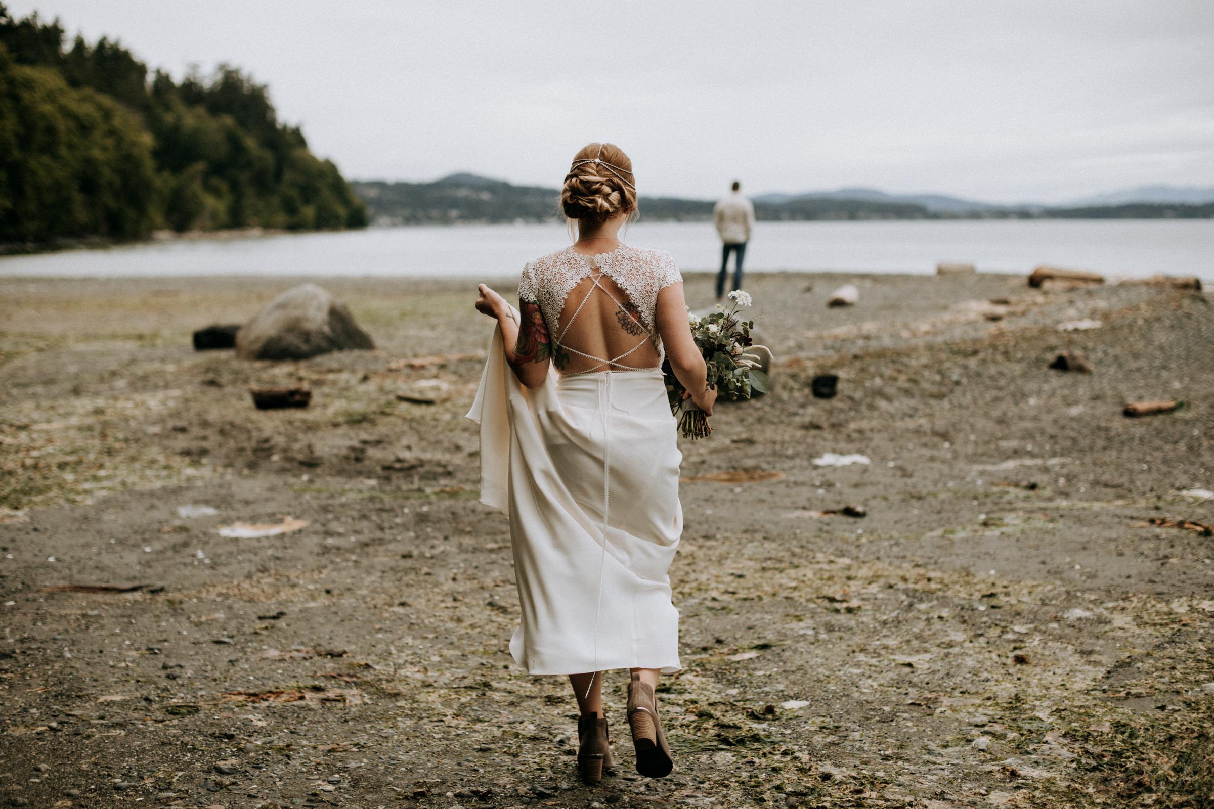 bride walks to first look at Mount Doug Beach, Victoria elopement photographer