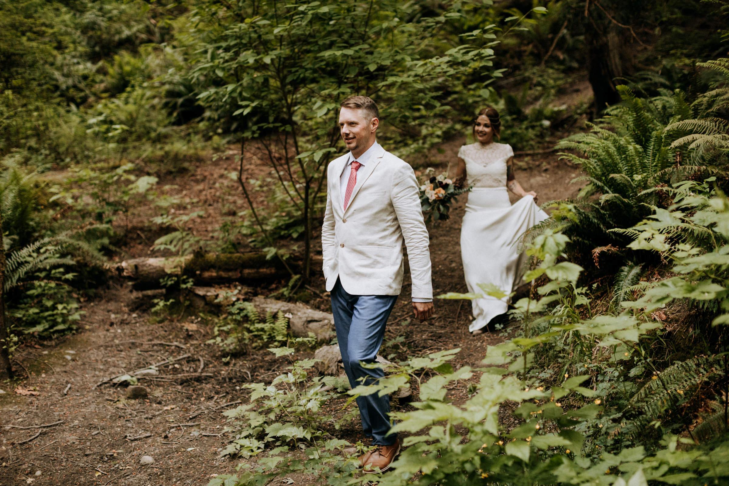 groom walks to ceremony site Mount Doug Vancouver Island Elopement Photographer