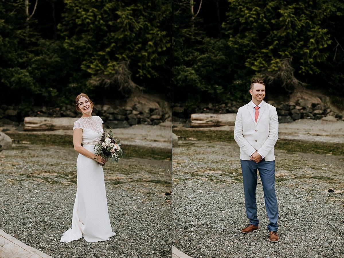 bride and groom on mount doug beach, Victoria elopement photographer