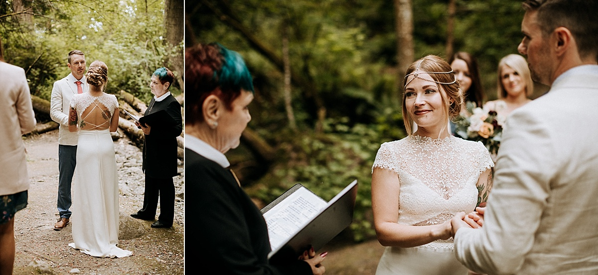 couple exchanges vows at elopement Vancouver Island wedding Photographer