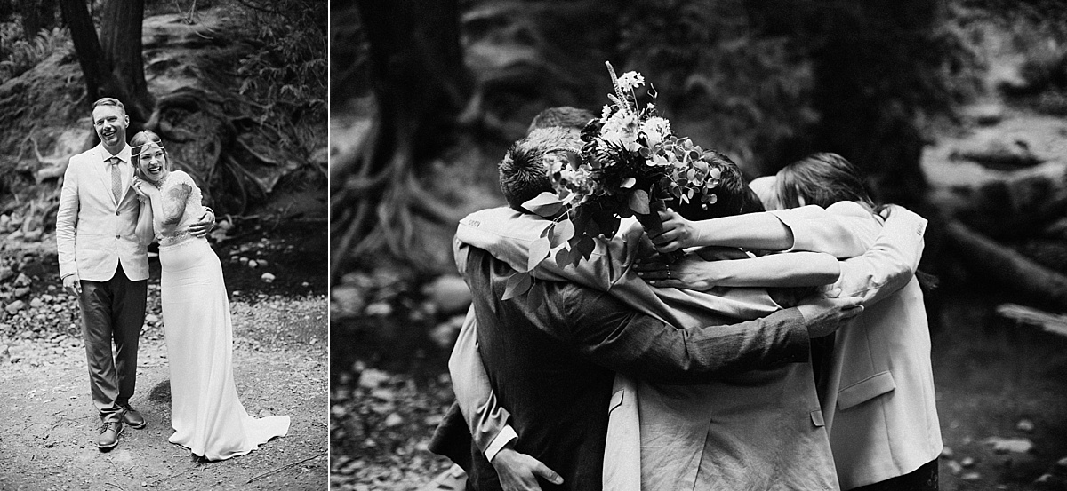 bridal party group hug at ceremony Vancouver Island Elopement Photographer