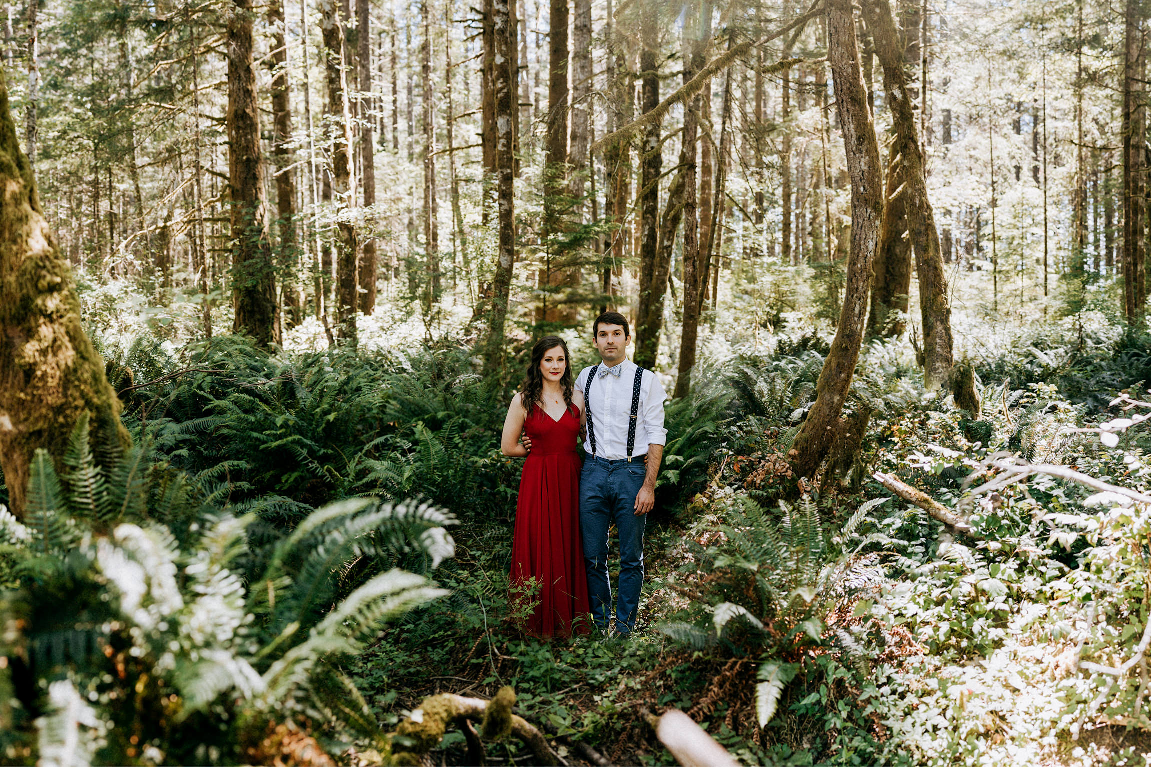 Bride and groom in fern forest, Courtenay BC Wedding Photographer