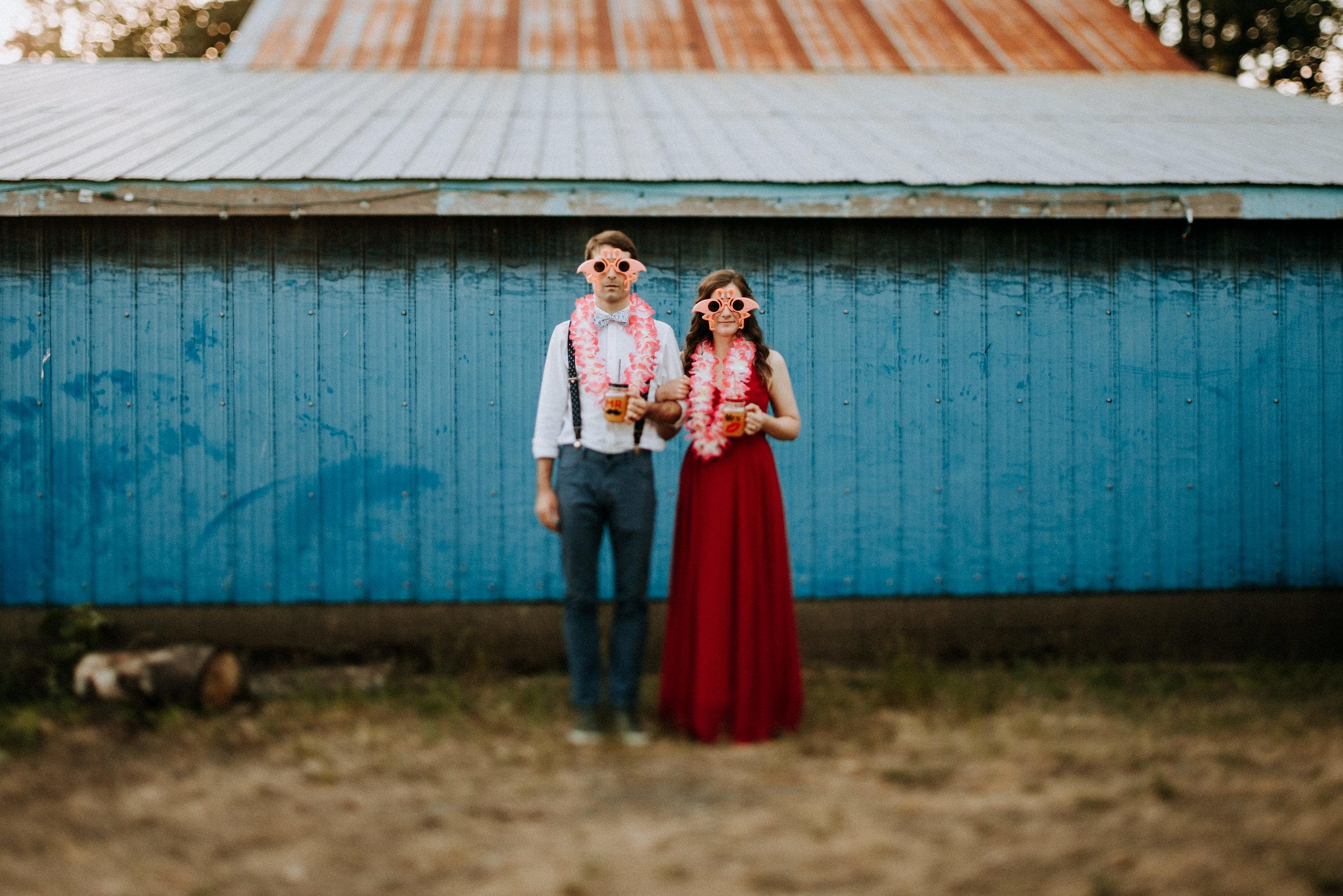 Bride and groom dressed up at farm wedding Courtenay Wedding Photographer
