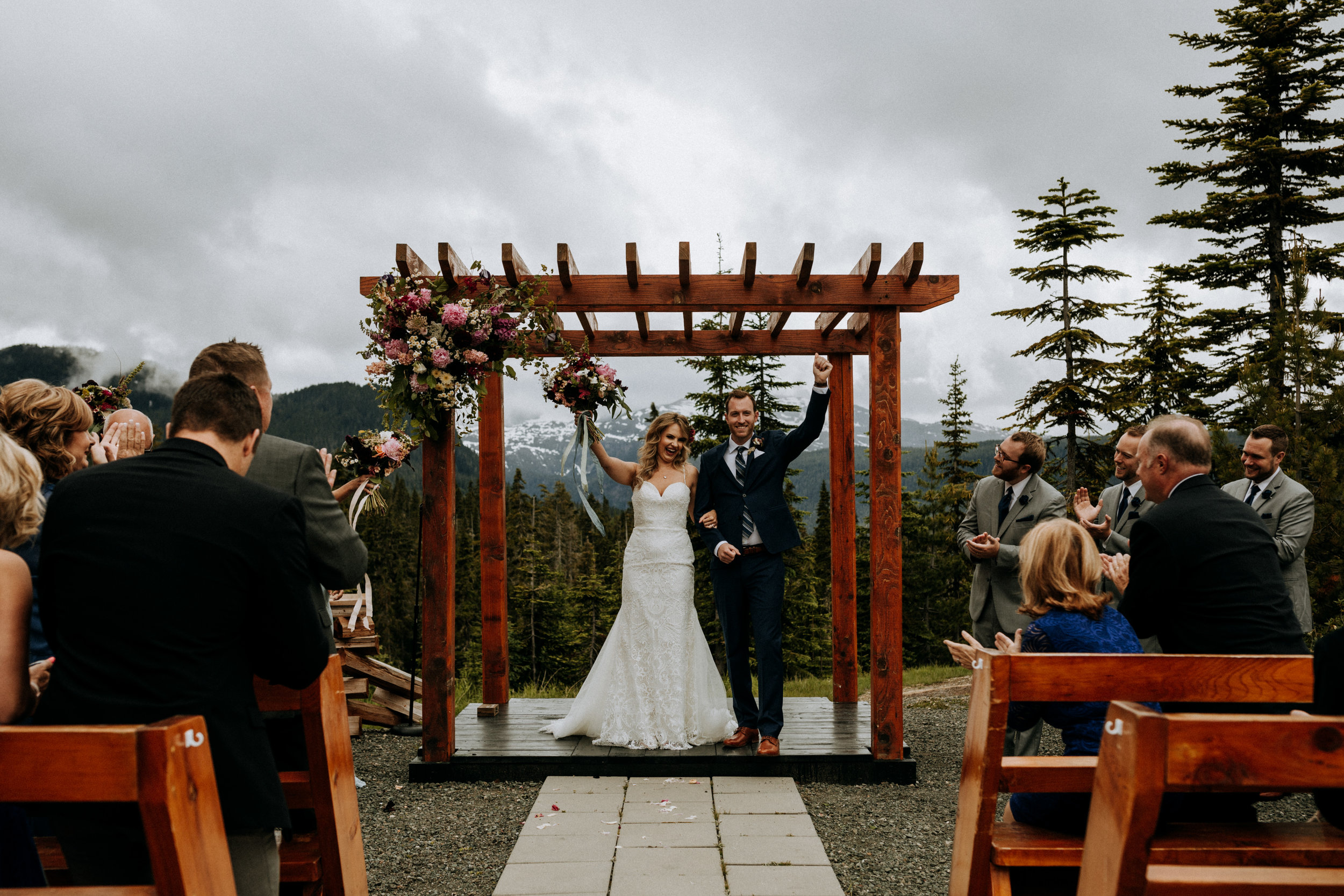 Bride and groom celebrate being married, Mount Washington Wedding photographer