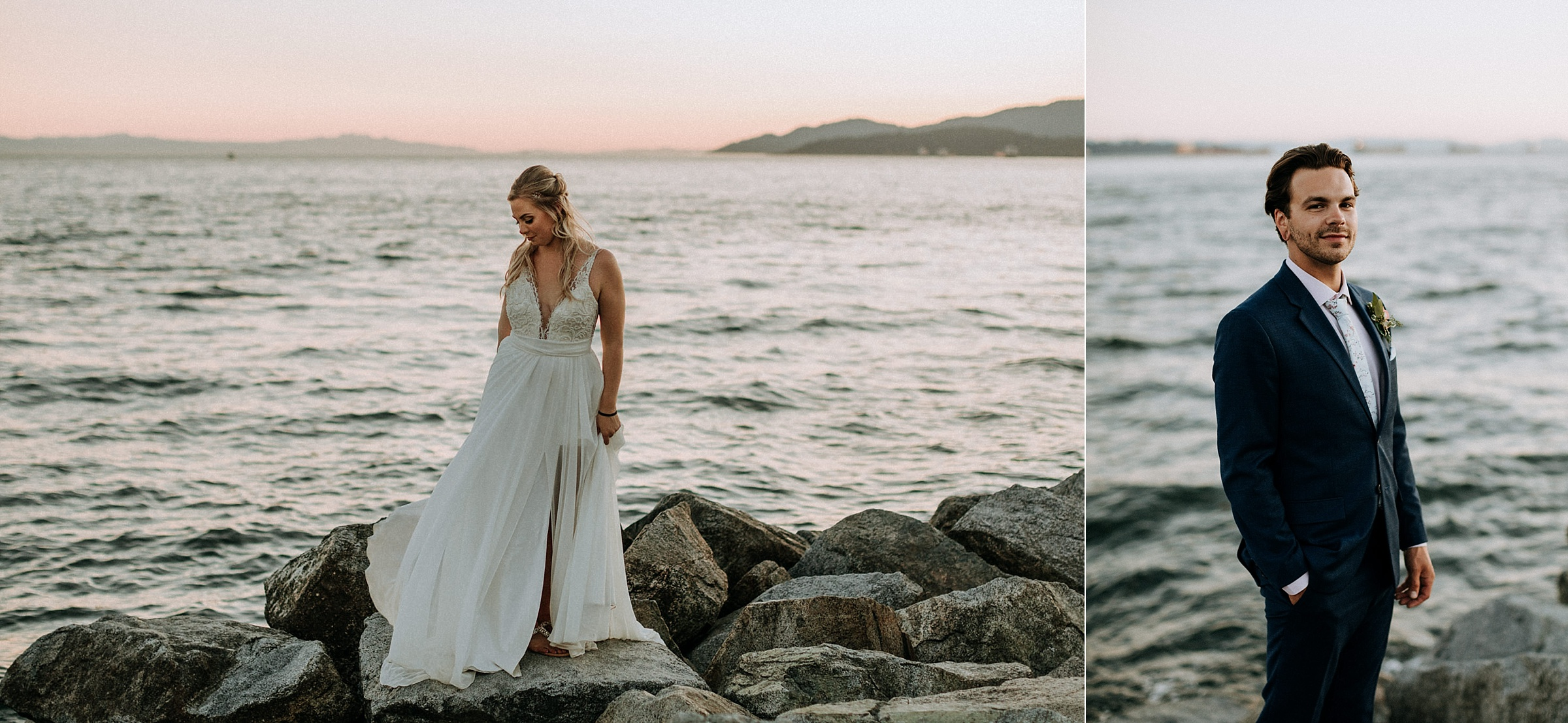 bride and groom at sunset on Ambleside Park West Vancouver