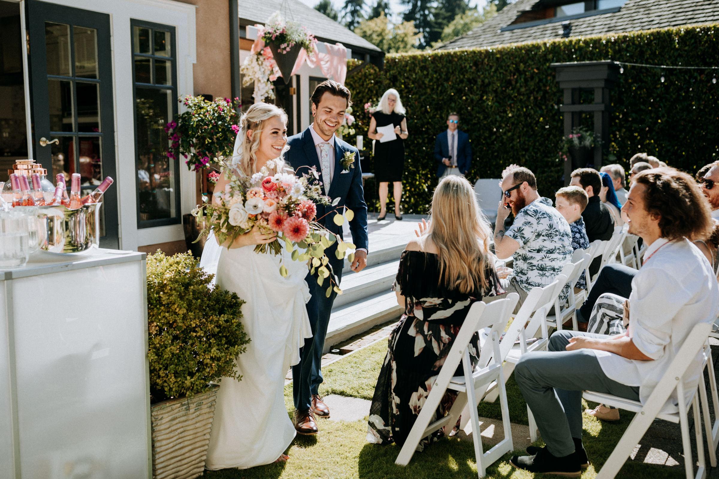 ceremony recessional West Vancouver backyard wedding photographer