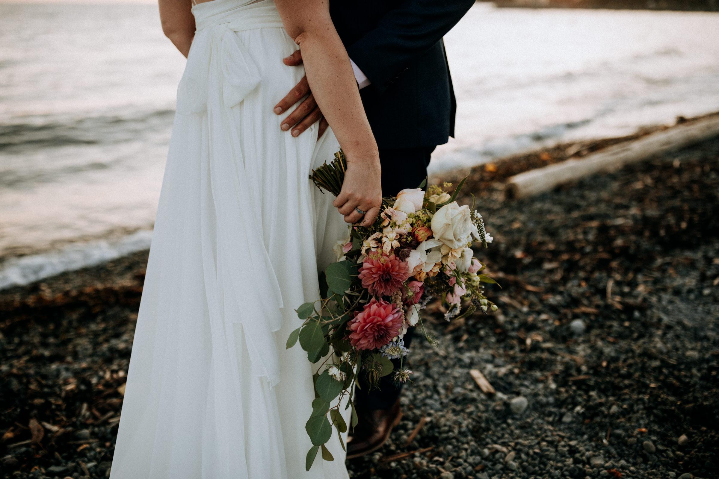 brides bouquet in sunset Ambleside Park West Vancouver