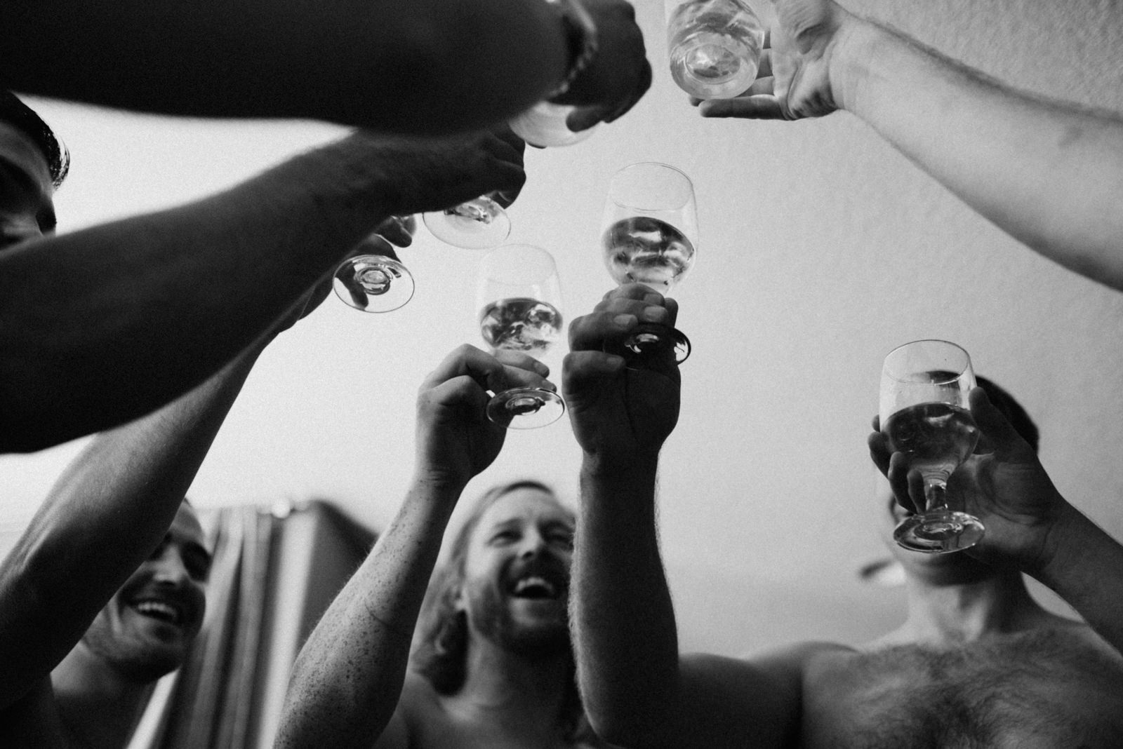 groomsmen cheers whiskey Port Alberni wedding Photographer