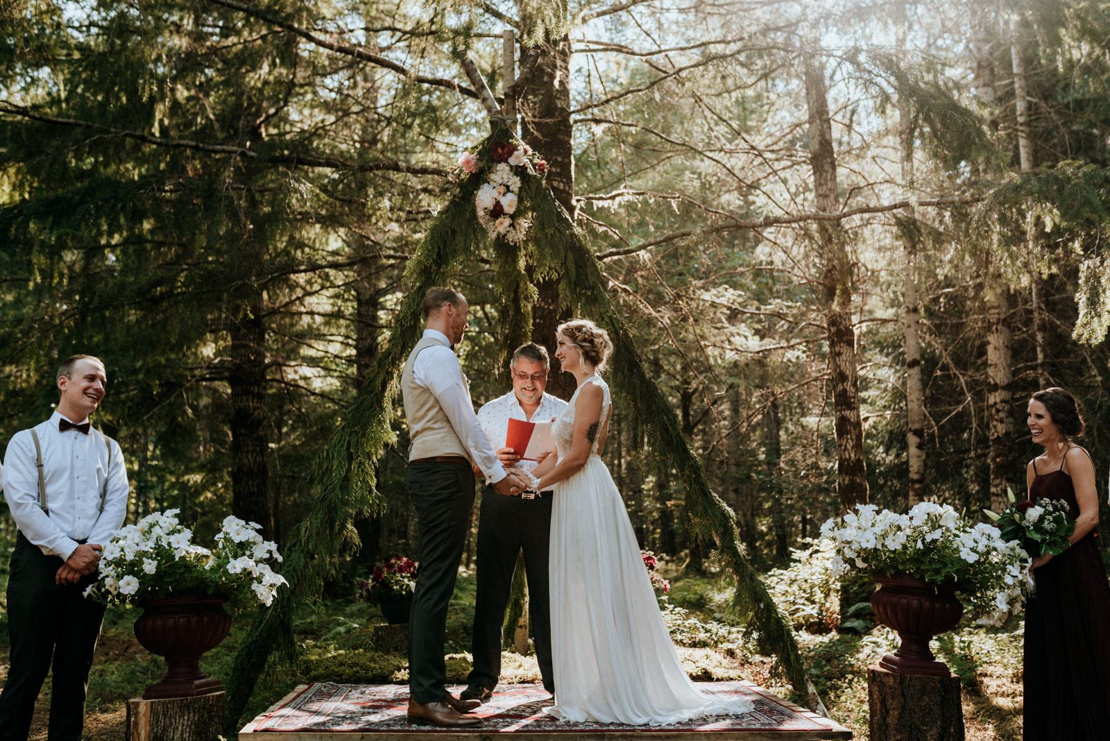 bride and groom at forest ceremony Port Alberni wedding Photographer