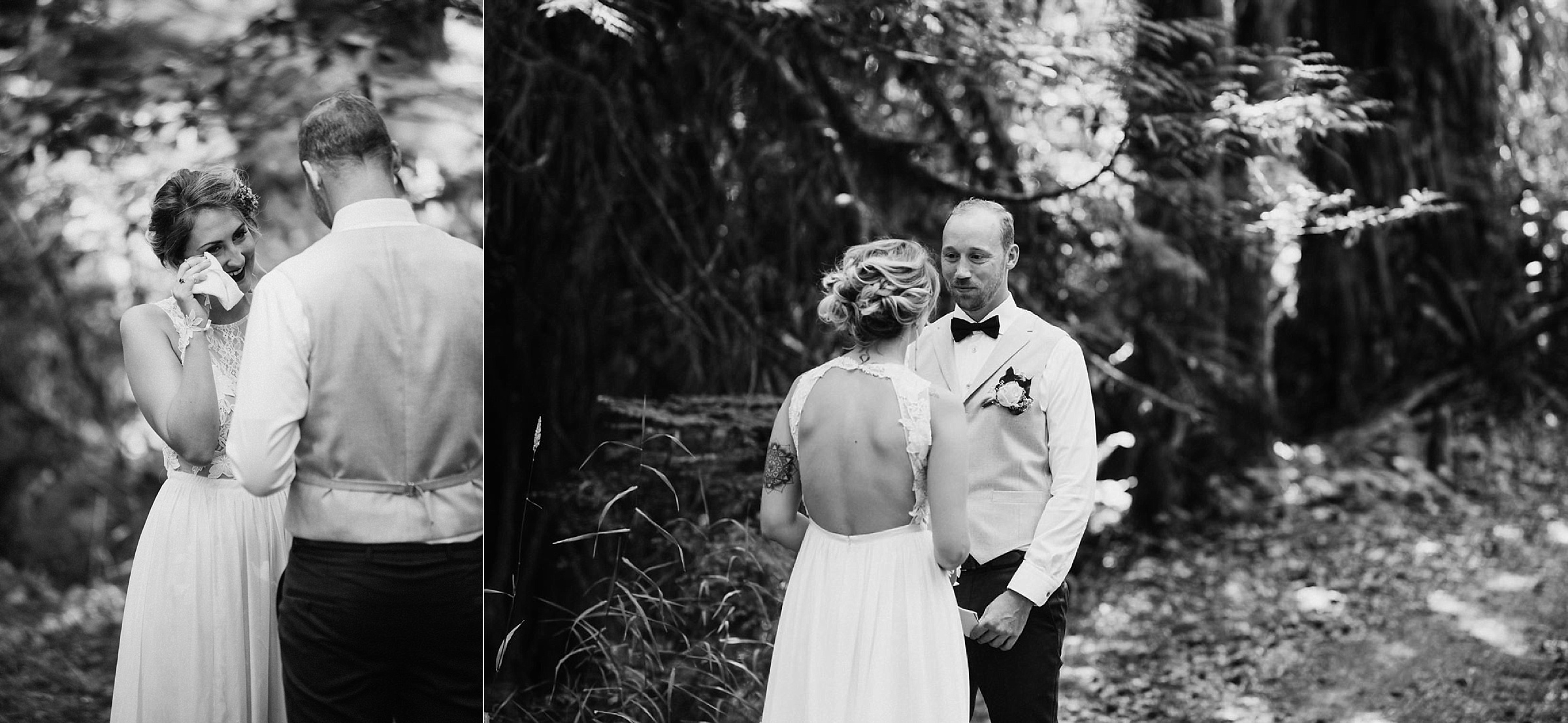 bride and groom exchange vows in forest in Port Alberni