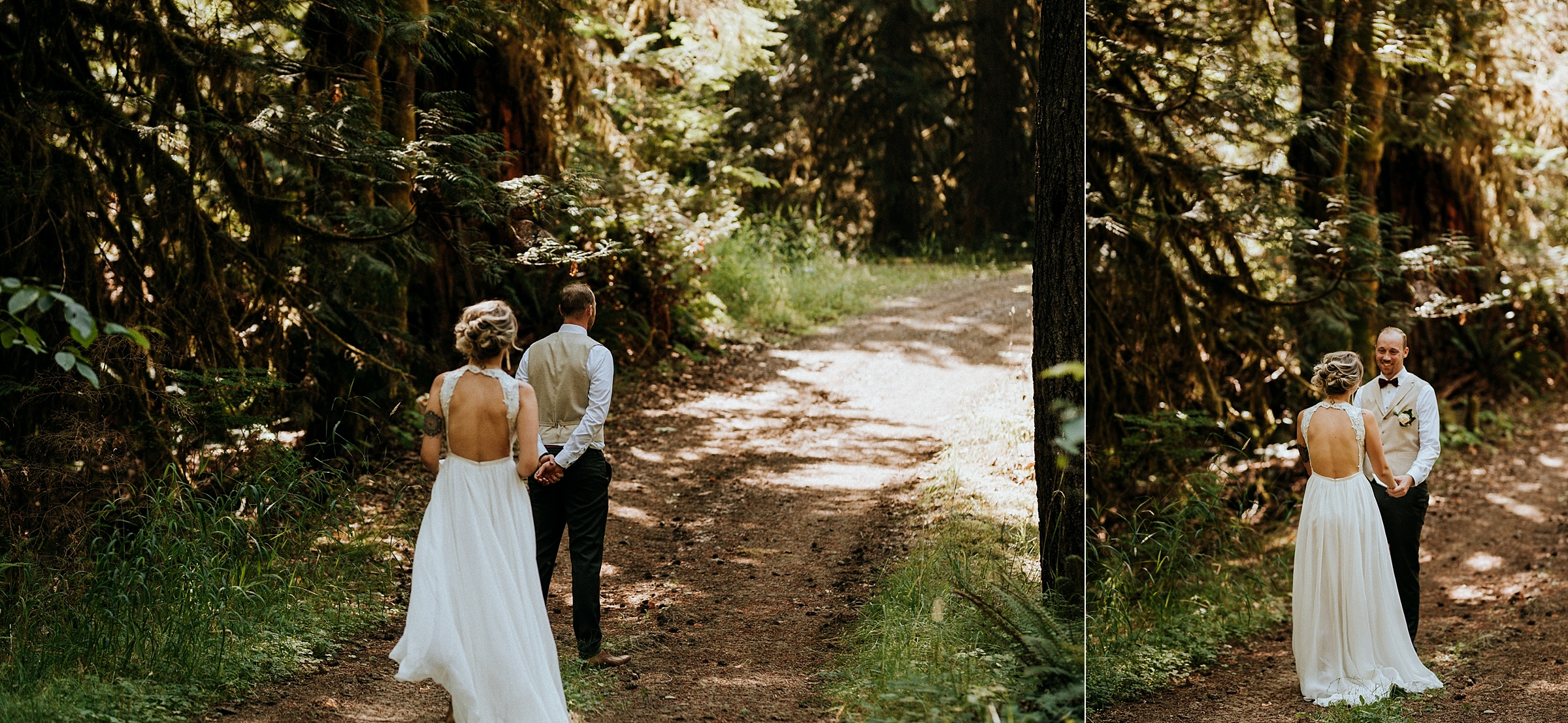 Bride and Groom during first look Port Alberni wedding Photographer