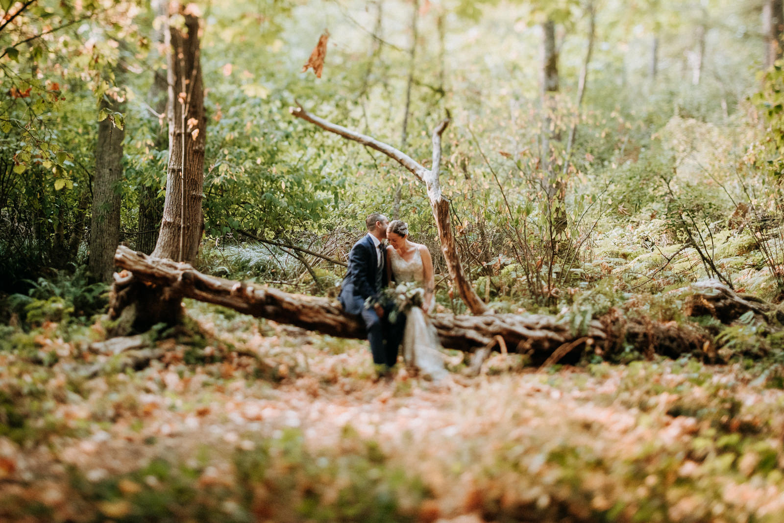 Bride and Groom on in forest, intimate Victoria wedding Gower House