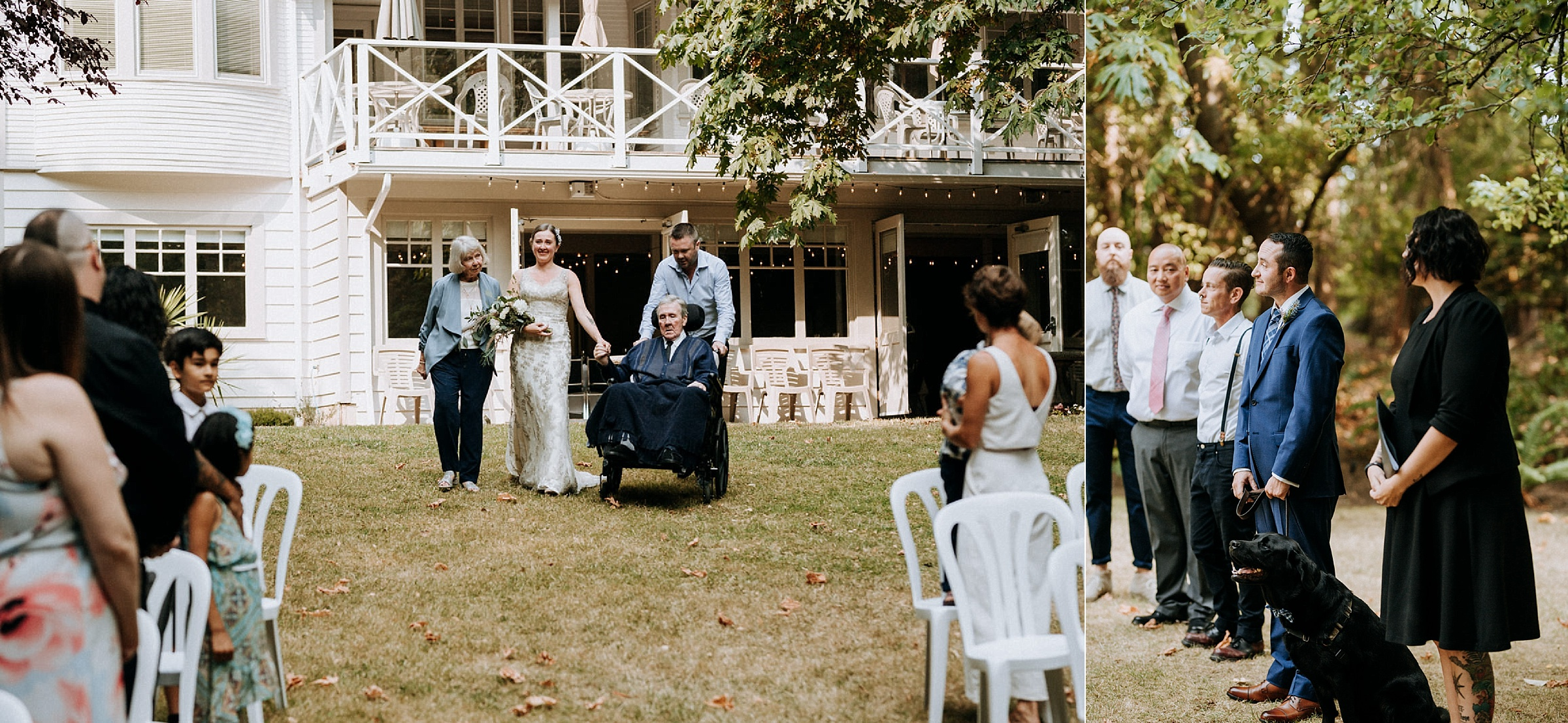 Bride walks down isle with her family, intimate Victoria wedding photographer