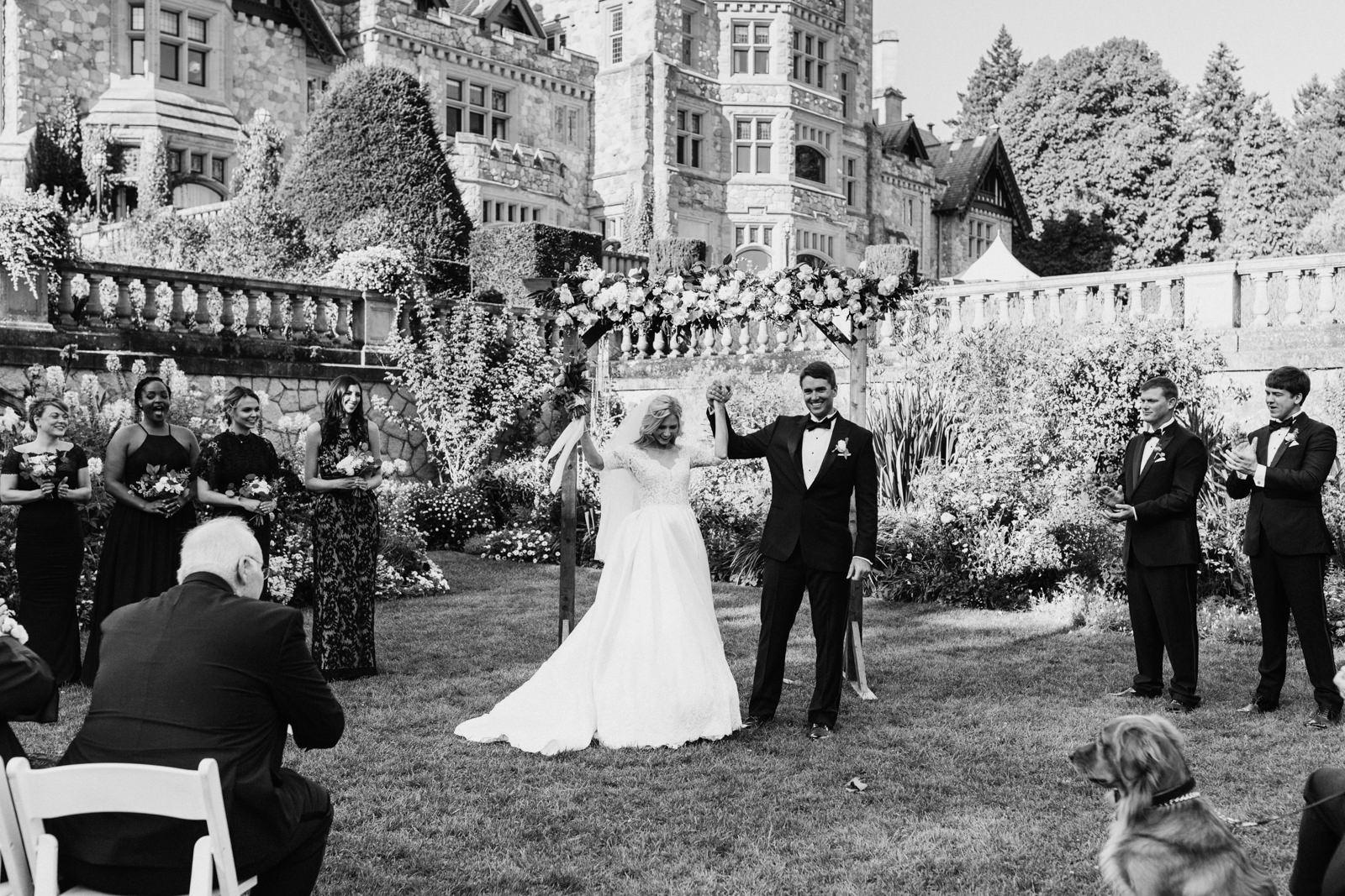 Couple celebrates at Hatley Castle Wedding