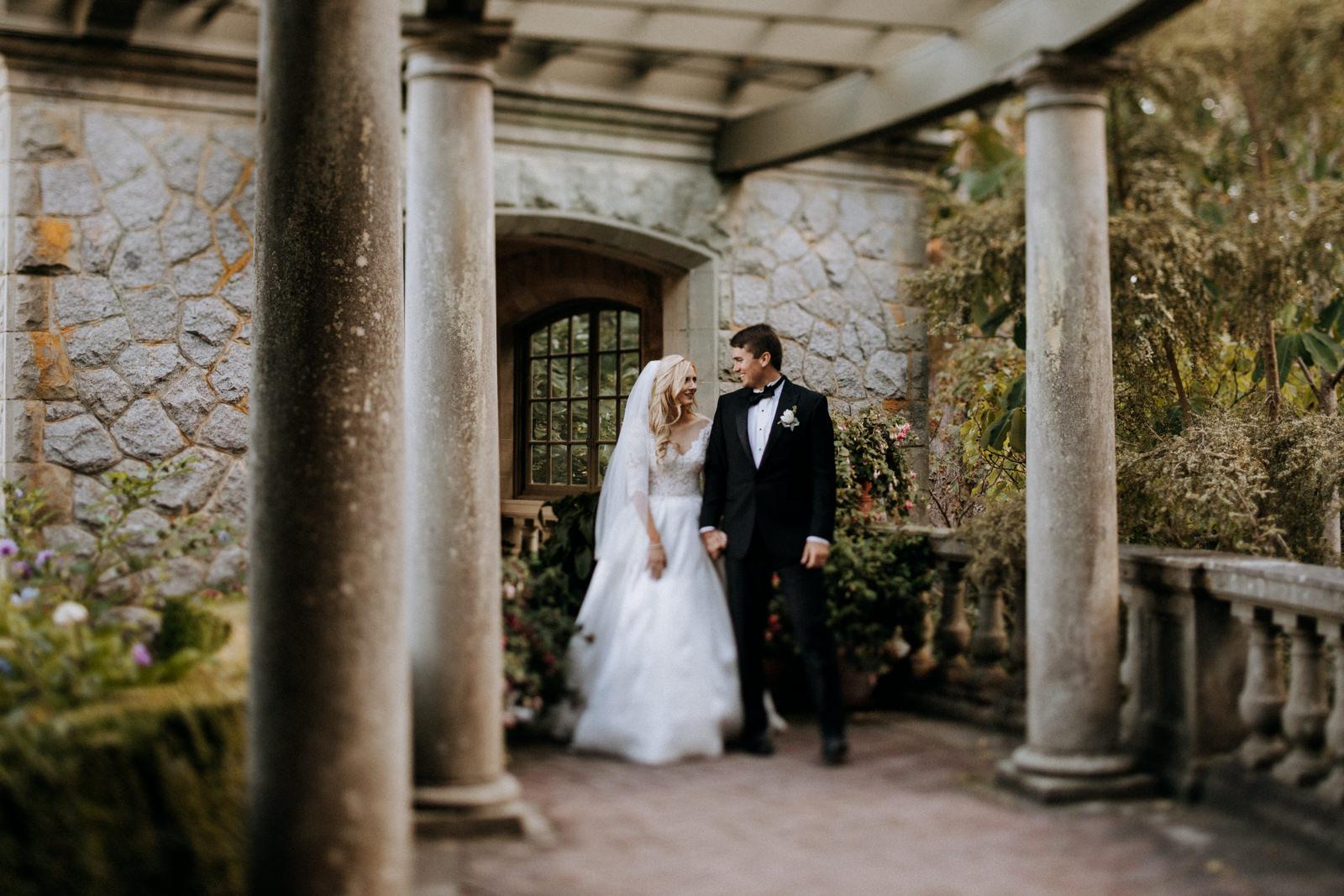 Couple in Italian garden at Hatley Castle Wedding Photographer