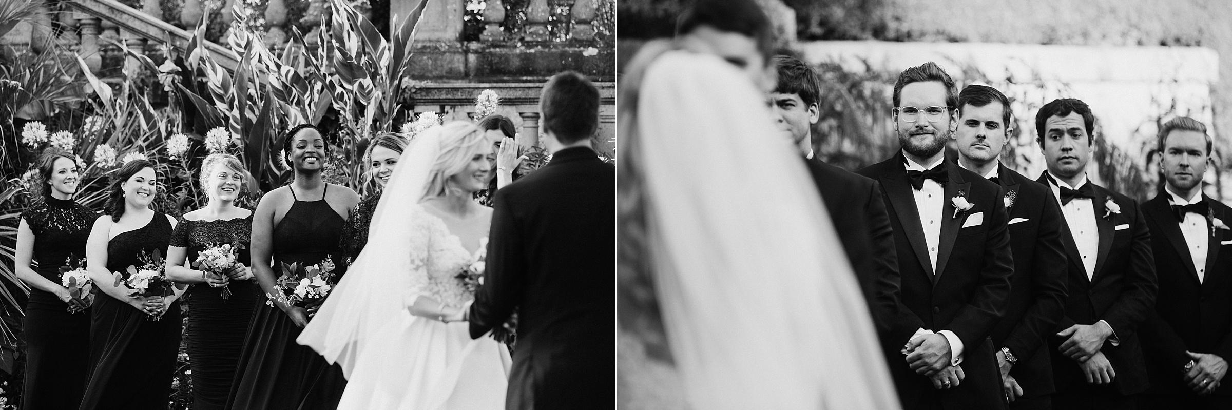 Bridal party watches couple Hatley Castle Wedding Photographer