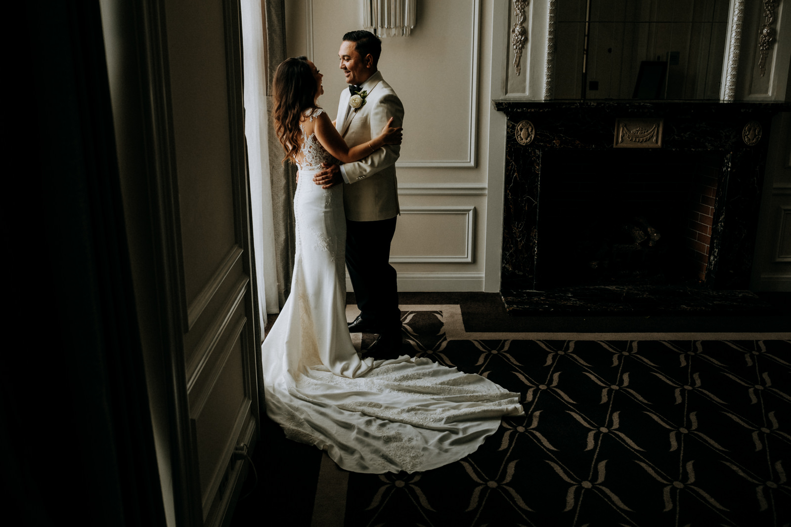 first look at Hotel Georgia Vancouver Wedding Photographer