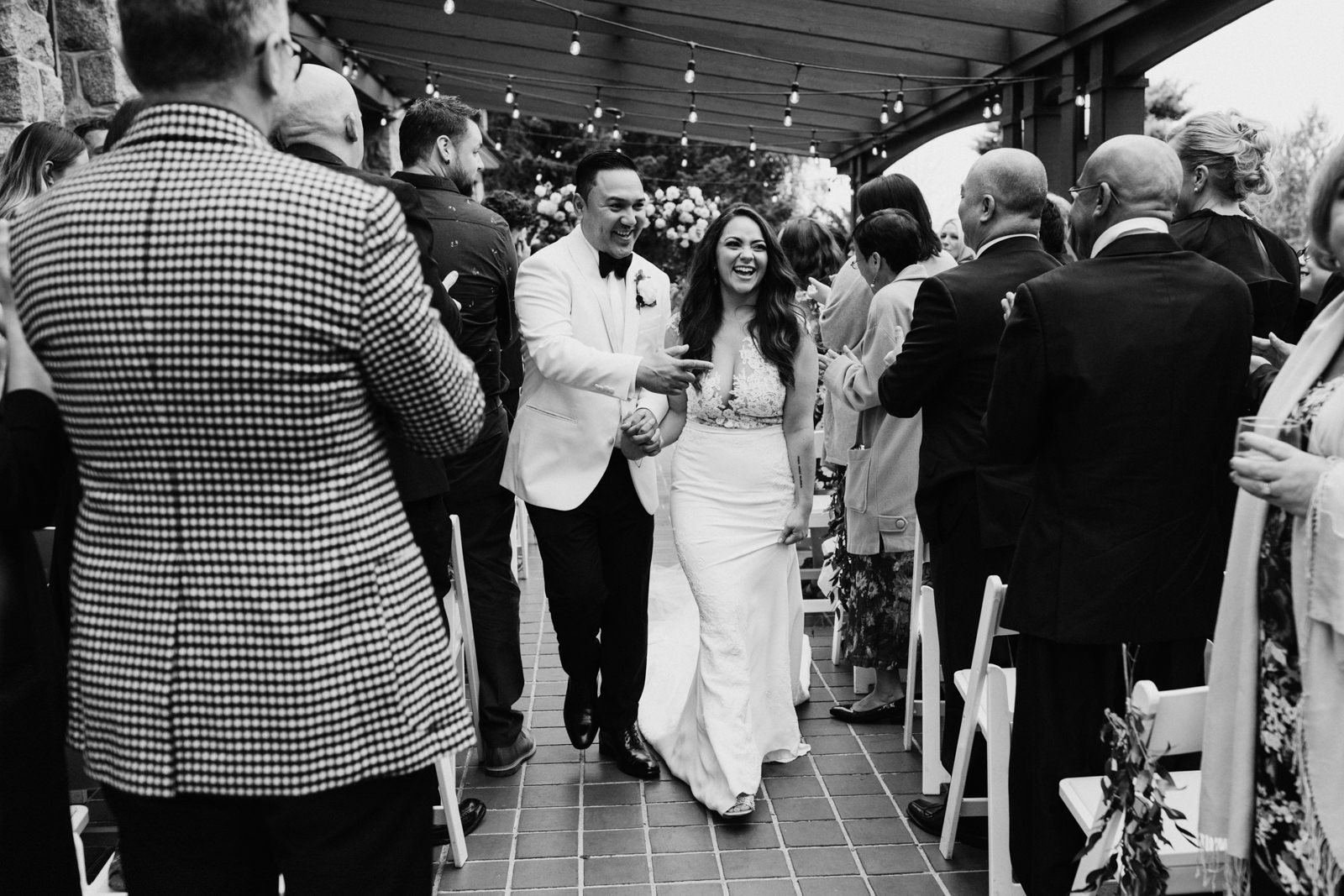 bride and groom exit ceremony Cecil Green Vancouver Wedding Photographer