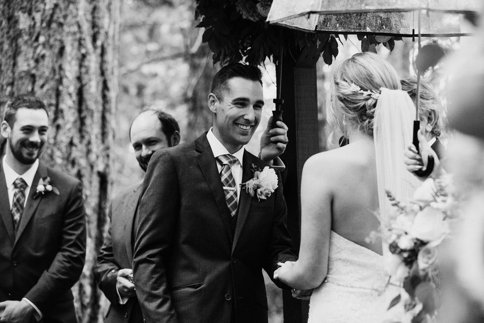Groom recites vows to bride Miracle Beach Courtenay Comox wedding photographer
