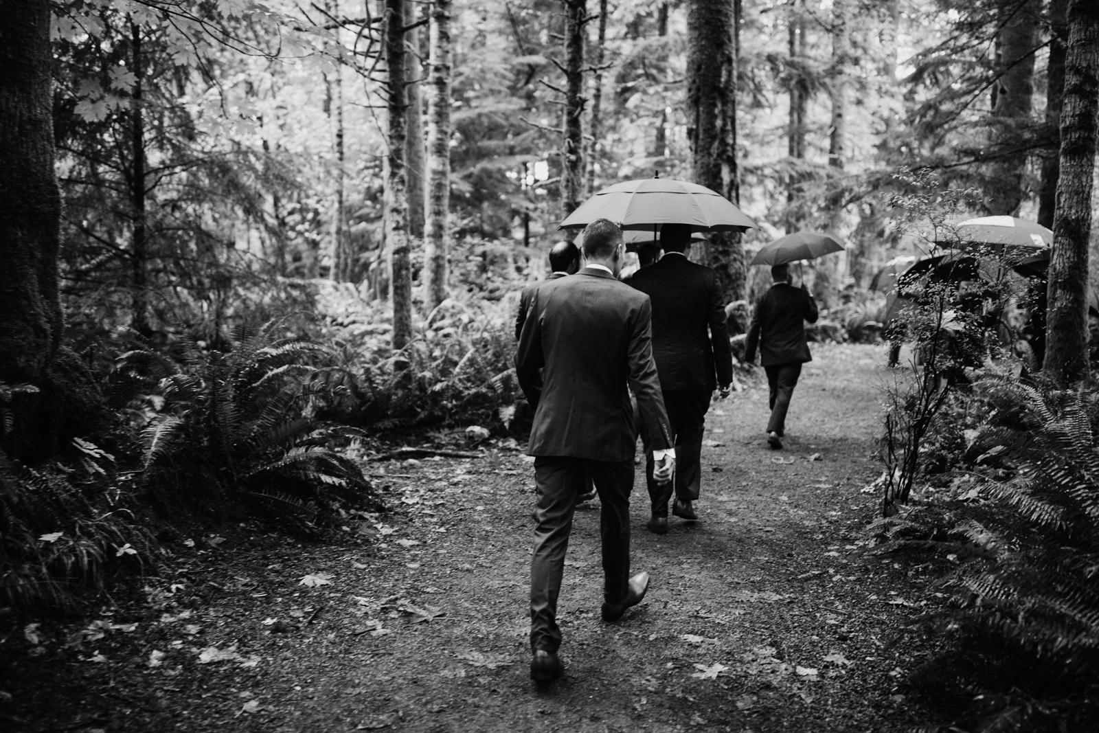 Groomsmen arrive at ceremony Courtenay Comox wedding photographer