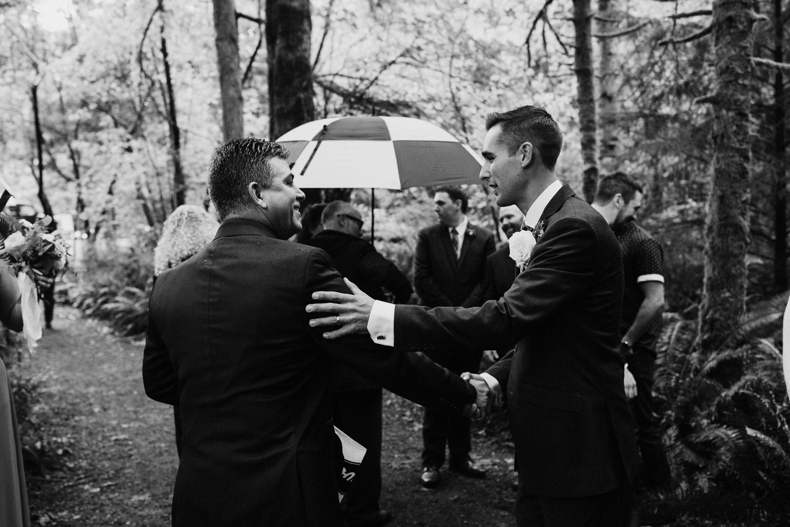 people congratulate Miracle Beach Comox Wedding Photographer