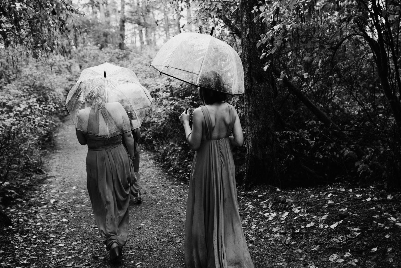 bridesmaids walk in forest Miracle Beach Comox Wedding Photographer