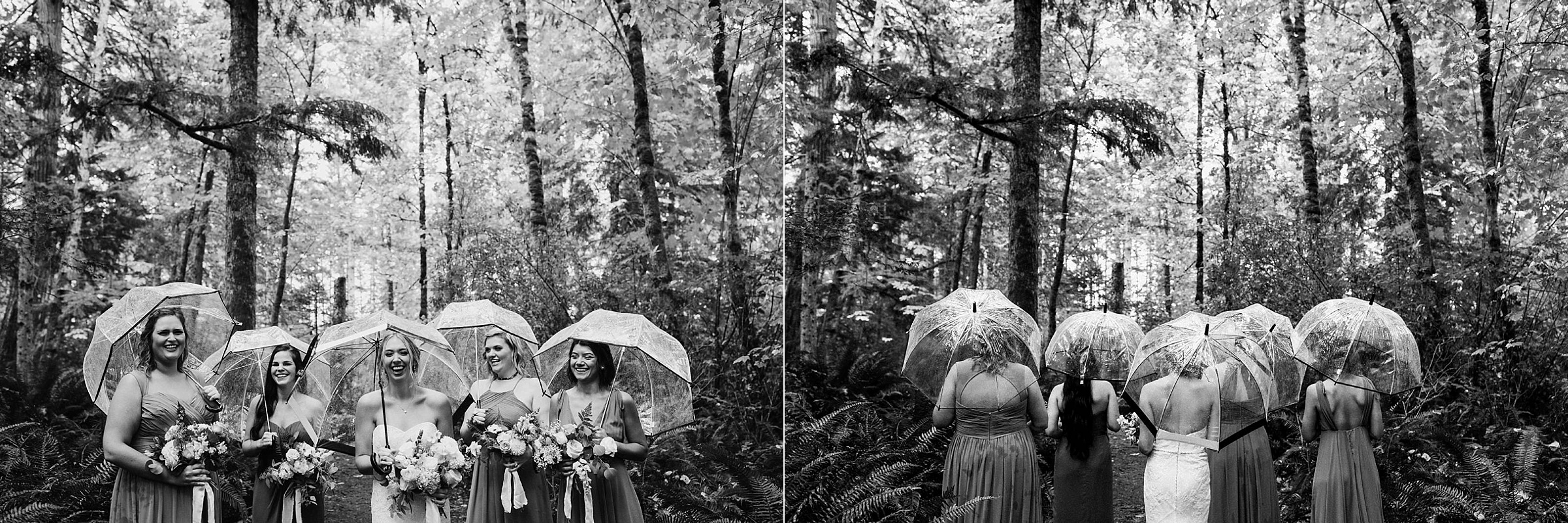 bridesmaids with umbrellas Miracle Beach Comox Wedding Photographer