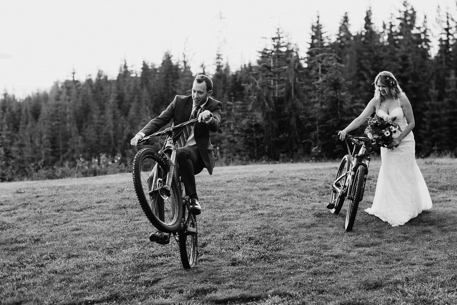 mountain biking wedding