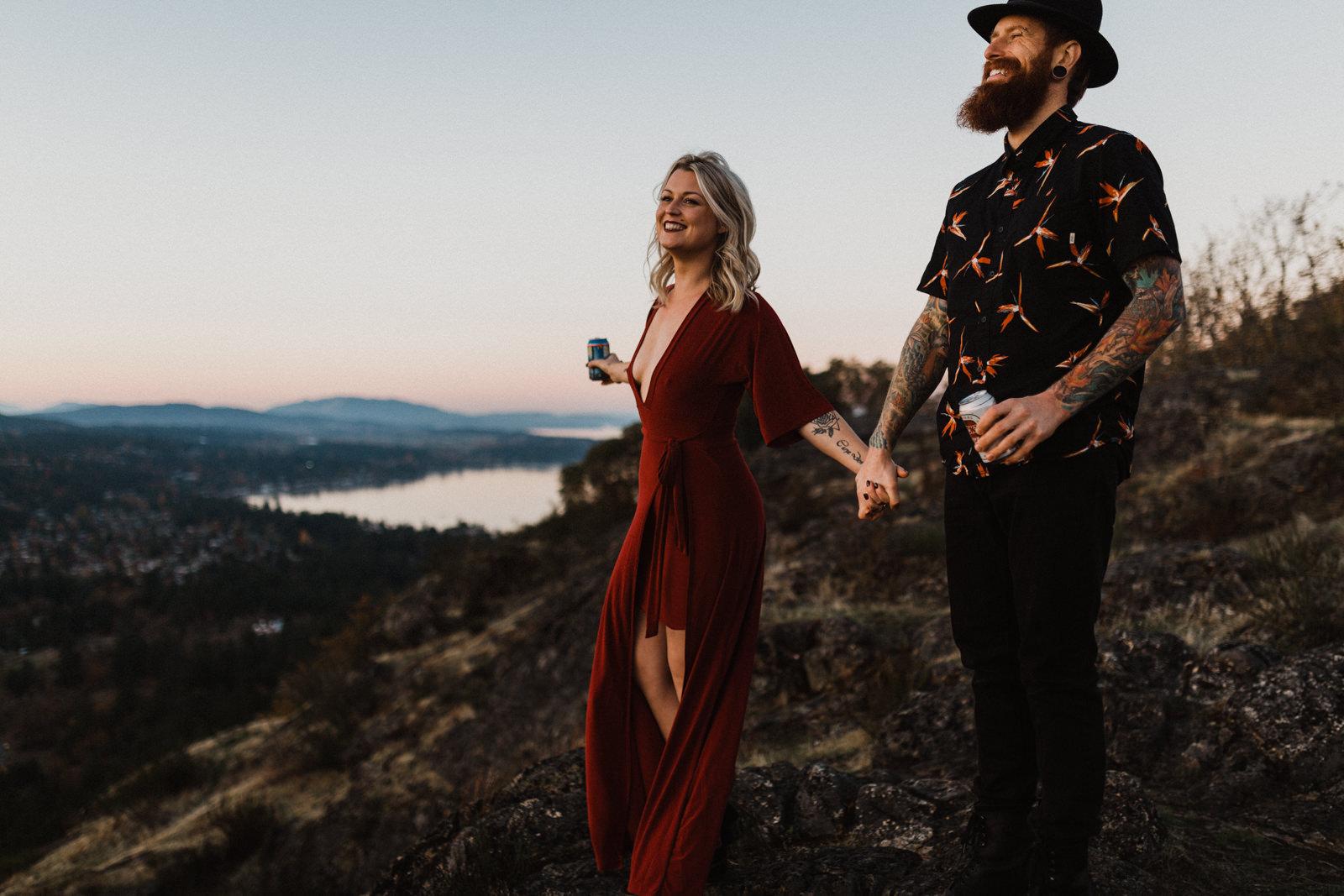 couple drinks beers on Mount Doug Victoria BC elopement photographer